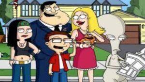 foto de la serie de animacion american dad donde aparecen sus personajes posando sonrientes enfrente de su casa