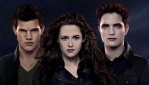 Tres de los protagonistas de la serie. De izquierda a derecha: Jacob, Bella y Edward.