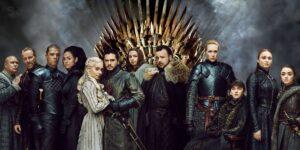 cartel de la serie de television juego de tronos. aparecen todos los personajes mas importantes de la serie