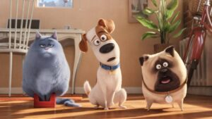 Tres de los personajes principales de la película de animación Mascotas. De izquierda a derecha: Chloe, Max y Mel.