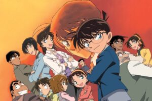 En la imagen el Detective Connan, junto al resto de personajes del anime.