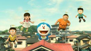 De izquierda a derecha aparecen Nobita, Zishuka, Doraemon, Gigante y Zuneo, los personajes protagonistas de la película.
